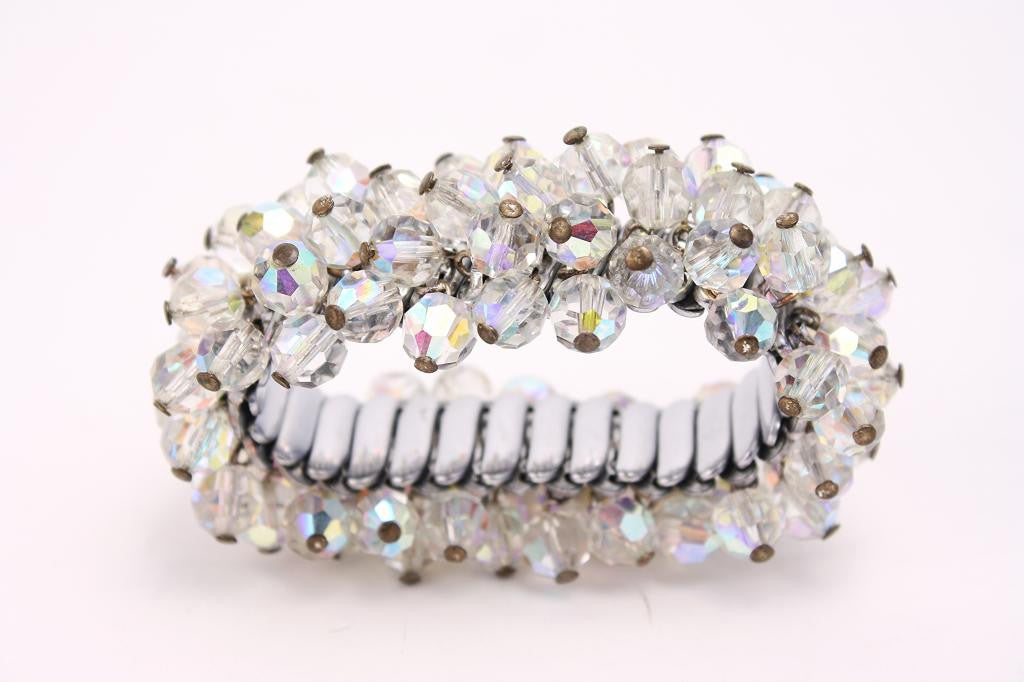 Vintage Clear Cut Crystal Accordion Bracelet