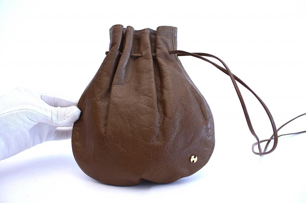 1970s HALSTON Brown Drawstring Pouch