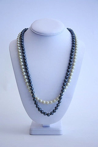 Faux pearls - dpuble strand white and black pearls