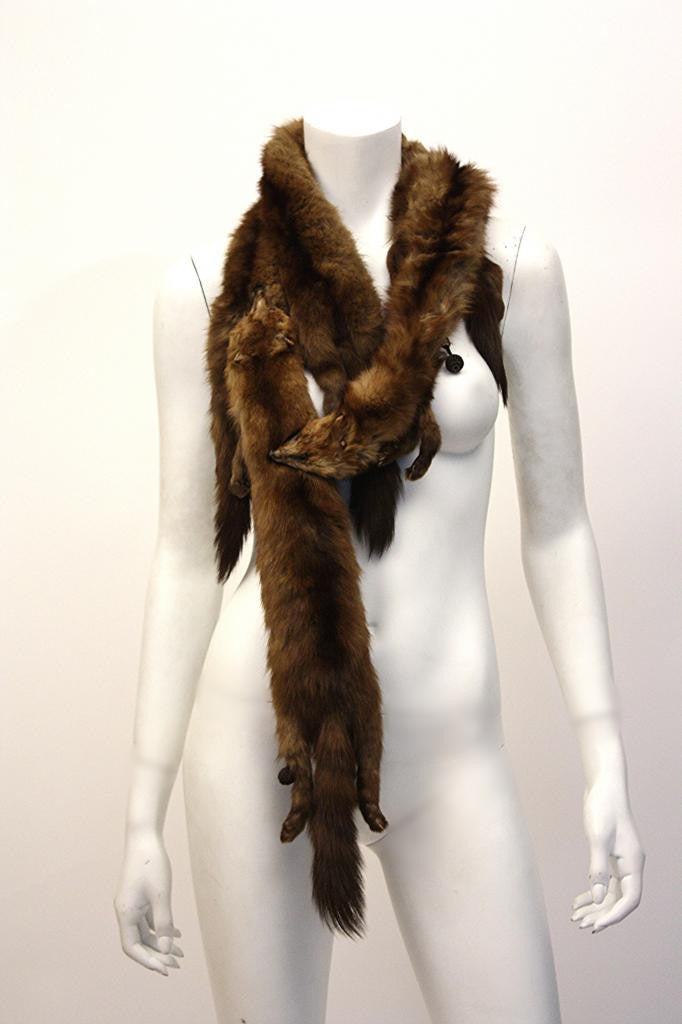 Vintage 40's Full Bodied 4 Mink Scarf