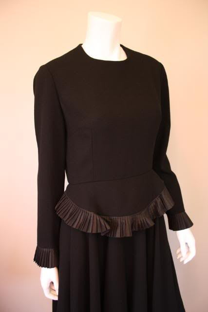 Vintage 60's GEOFFREY BEENE Black Wool 40's Inspired Dress with Ruffles at Waist & Cuffs