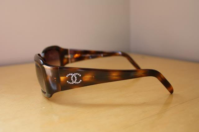 CHANEL Brown Tortoise Shell Sunglasses with Rhinestone CC's & Case