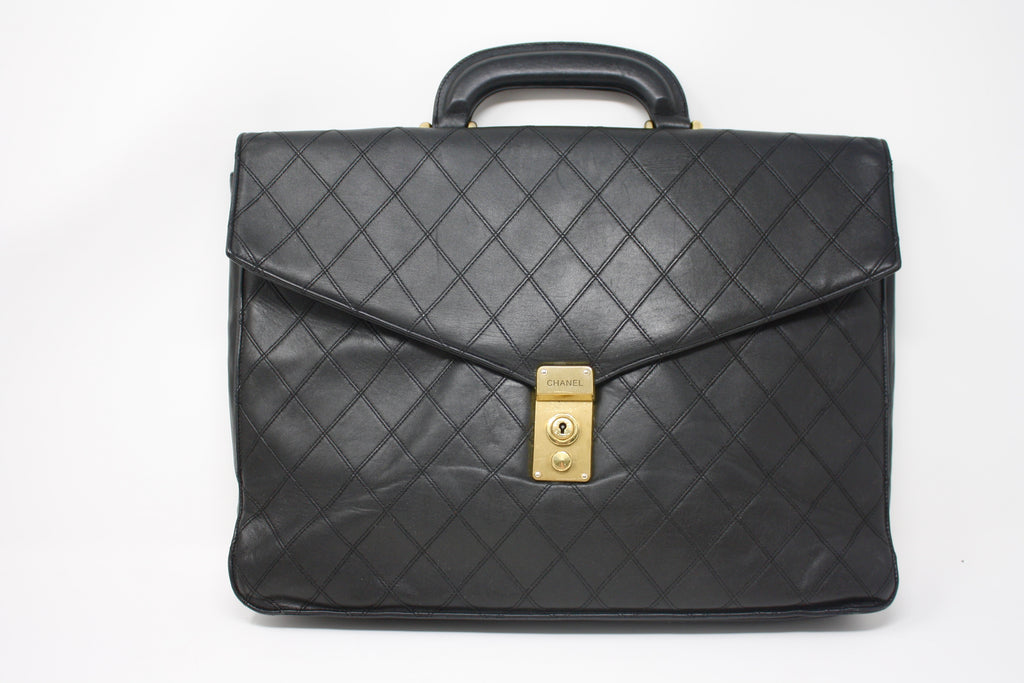Vintage CHANEL Quilted Leather Briefcase