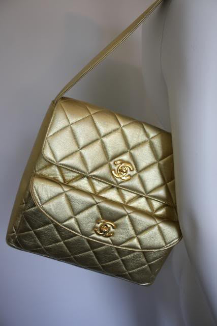 Gold Quilted Chanel Shoulder Bag with Double Flap
