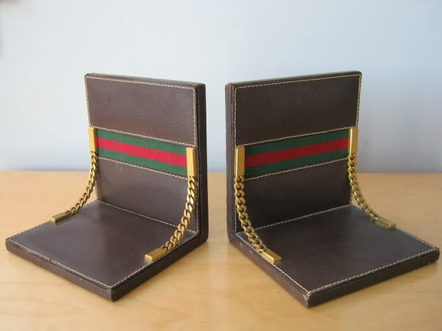 Gucci Brown Leather Bookends