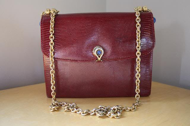 Gucci Red Lizard Handbag with Lapis Lazuli Clasp
