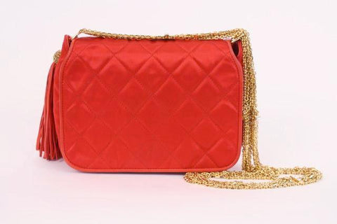 Rare Vintage CHANEL Red Quilted Bag with Rhinestones