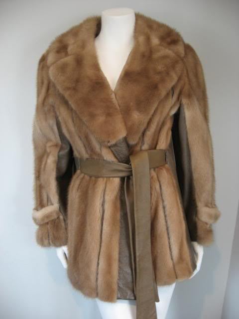 Vintage 60's Autumn Haze Mink Fur and Leather Wrap Coat