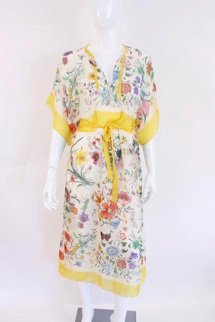 Vintage 70's Gucci Flora Fauna Accornero Silk Dress Caftan