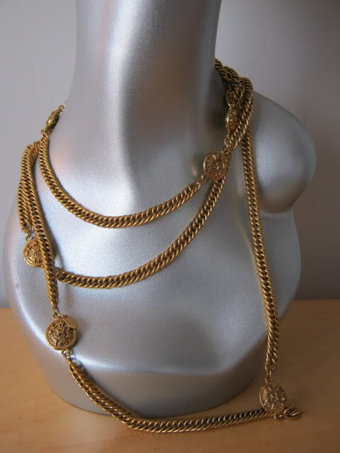 Vintage 80's CHANEL 35 Inch Gold Chain Link Necklace with 9 CHANEL Medallions with Horses