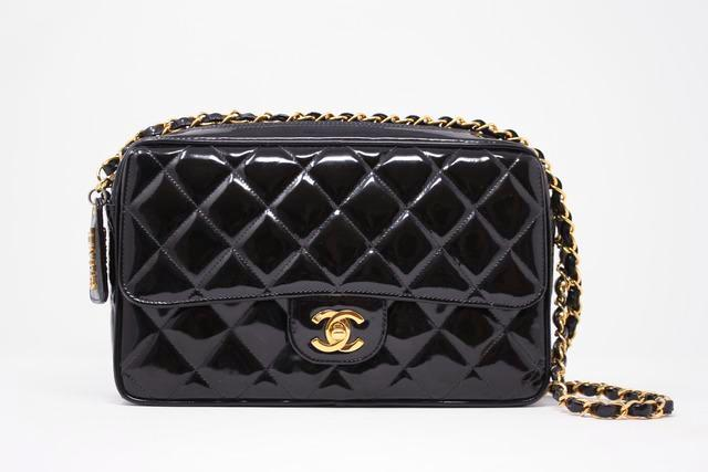 db1820b8a85f Rare Vintage CHANEL Patent Leather Camera Flap Bag at Rice and Beans ...