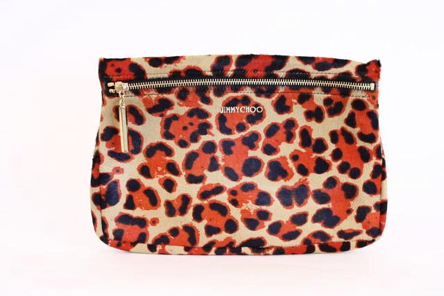 Jimmy Choo Calf Hair Leopard Clutch