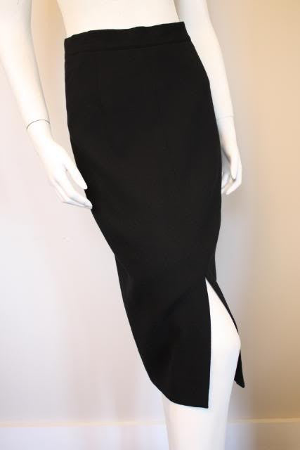 LOUIS FERAUD Black Wool Skirt with Velvet Front Panel & Pearl Button
