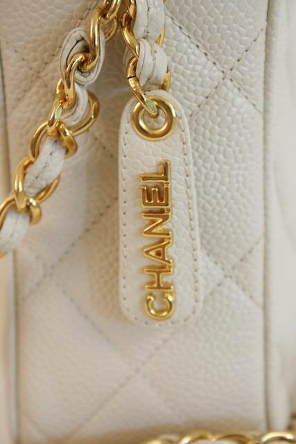 787748a05043 Vintage CHANEL Cream Caviar Camera Bag at Rice and Beans Vintage