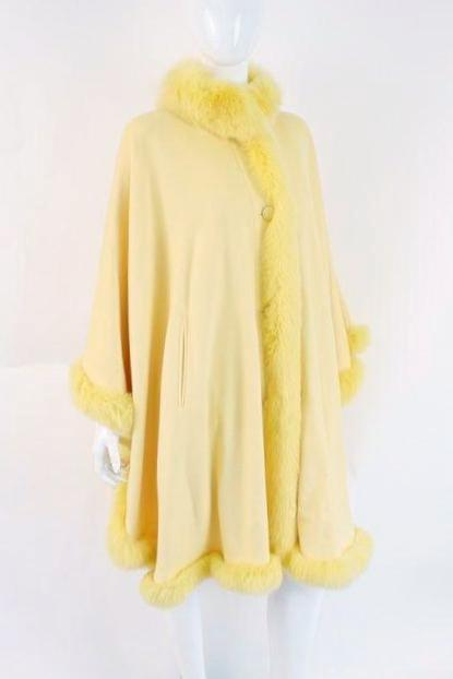 Yellow cashmere and fox fur coat cape