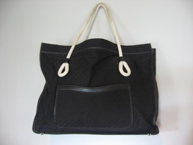 HUGE Vintage 70's/80's Black Signature GUCCI Tote w/ Nautical Rope Shoulder Straps