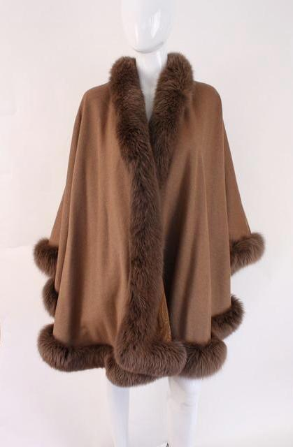 Cashmere & fox fur wrap cape throw
