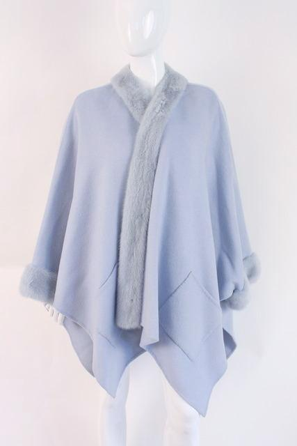 bisang couture blue cashmere and mink cape wrap