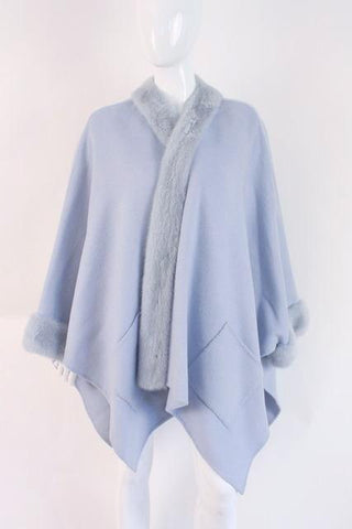 BISANG Couture Blue Cashmere & Mink Cape Wrap  ON LAYAWAY