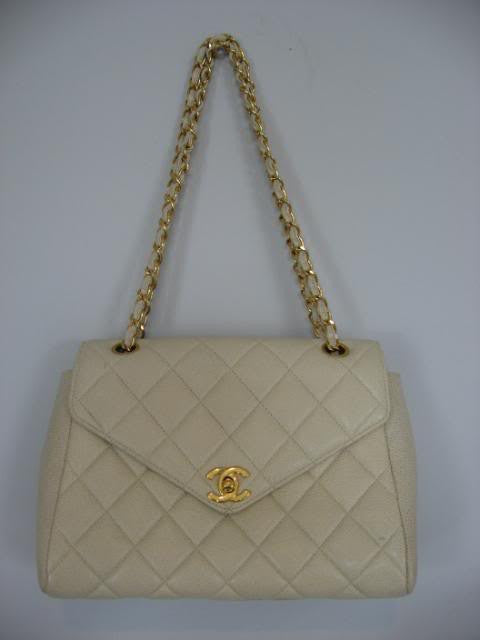 Vintage CHANEL Cream Classic Flap Bag