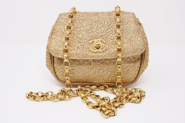 Vintage Chanel Gold Brocade Flap Bag