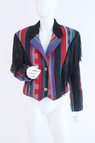 Vintage 80's Fringed Blanket Jacket