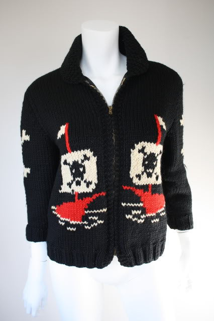 Vintage Hand Knit Black Wool Sweater with Pirate, Skull & Cross Bones, & Ships