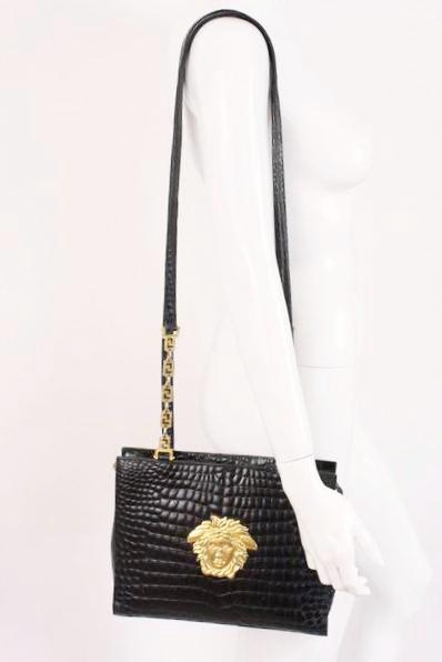 a4c3cf7899 Rare Vintage 90 s GIANNI VERSACE Logo Bag at Rice and Beans Vintage