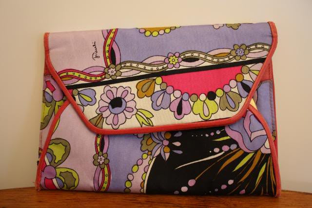 Vintage 60's EMILIO PUCCI Signature Print Silk Clutch with Leather Trim
