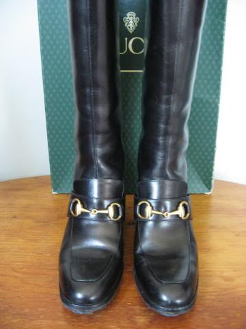 Vintage 80's GUCCI Black Leather Riding Boots with Horsebit Detail & Box, Size 6.5B