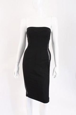 Vintage GIANNI VERSACE Couture Strapless Little Black Dress