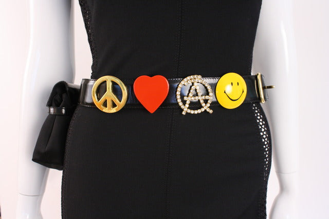 Vintage 90's Moschino Waist Belt Bag Peace Love
