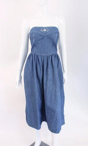 Vintage 80's OSCAR DE LA RENTA Denim Dress