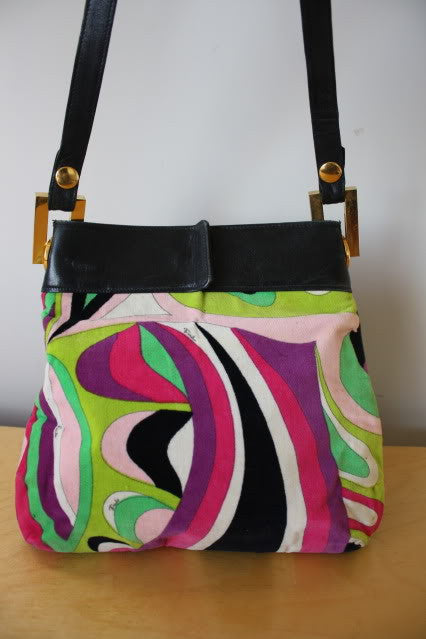 RARE Vintage 60's EMILIO PUCCI Bold Signature Print Velvet & Leather Handbag with Gold Hardware