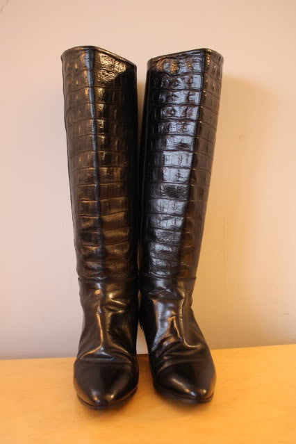 Vintage 70's CHARLES DAVID Black Leather & Alligator Embossed Leather Boots, sz 6.5