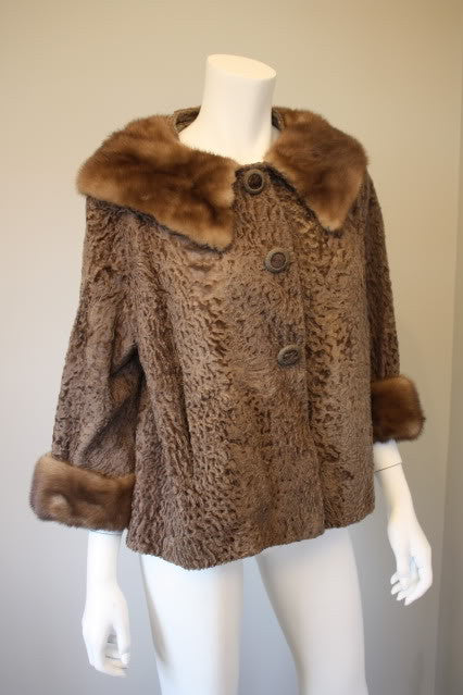 Vintage 60's Brown Sheared Persian Lamb Jacket with Chocolate Brown Mink Fur Collar & Cuffs