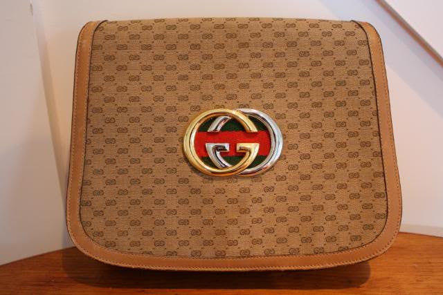Vintage 60's GUCCI Light Brown Monogram Handbag Converts to Clutch with Gold & Silver GG & Red/Green Stripe