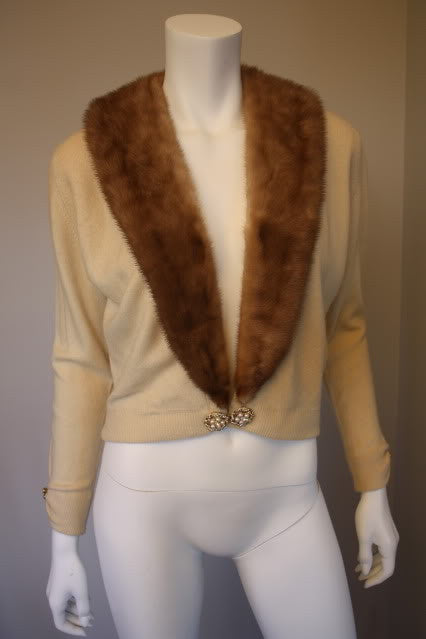 Vintage 60's Cream HADLEY Cashmere Sweater with Mink Fur Collar & Rhinestone Accents