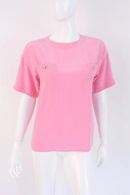 Vintage Chanel pink silk top shirt