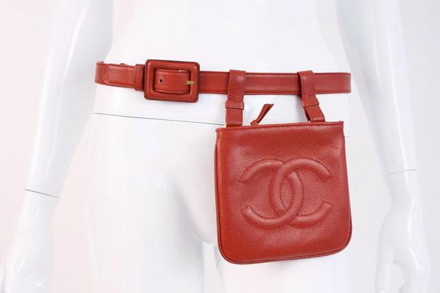 Vintage Chanel red caviar belt bag fanny pack