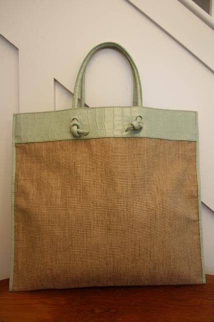 New VALENTINO Woven Linen & Reed Large Tote Handbag with Alligator Trim & Handles