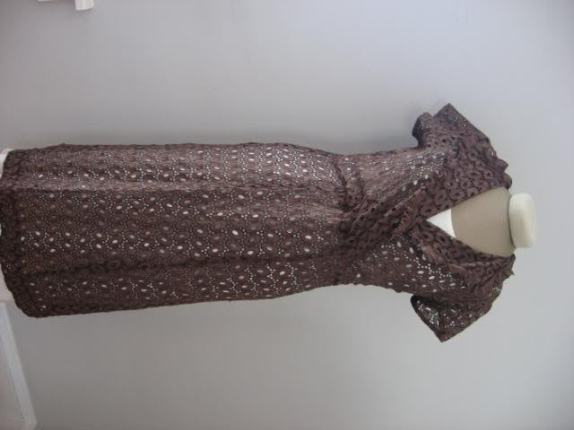 Vintage 40's Brown Eyelet Lace Dress