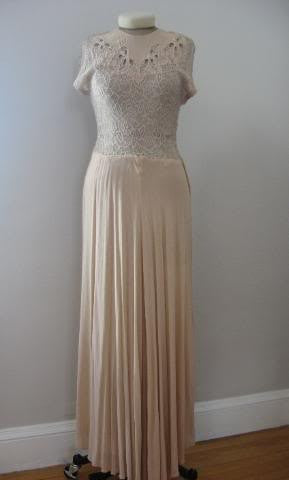 Vintage 40's Pale Pink Full Length Dress with Lace Cut Our Bodice