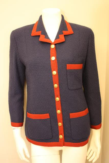 Vintage CHANEL Blue Boucle Jacket with Red Ribbon Trim & Rare Buttons