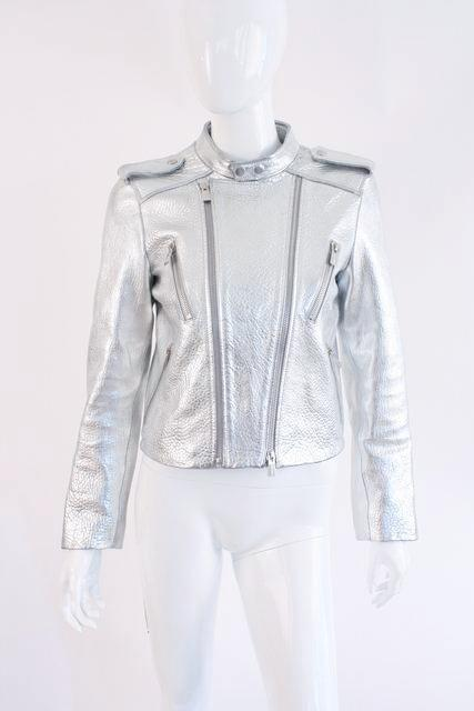 Anine Bing Silver Leather Jacket Bowie