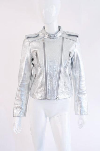 "New ANINE BING Silver Leather ""Bowie"" Jacket"