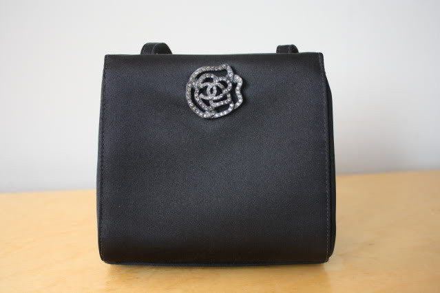 CHANEL Dark Grey Satin Evening Bag with Rhinestone CC Camellia Flower Accent