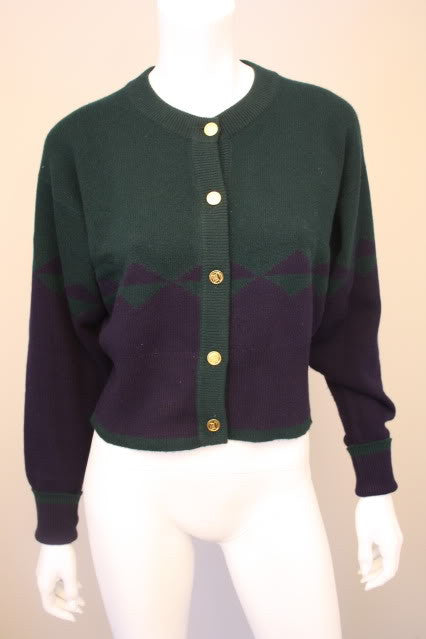 Vintage CHANEL  Green and Navy 100% Cashmere Cardigan Sweater with Gold Handbag Buttons