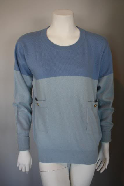 Vintage CHANEL Two Tone Blue Cashmere Sweater with CC Buttons