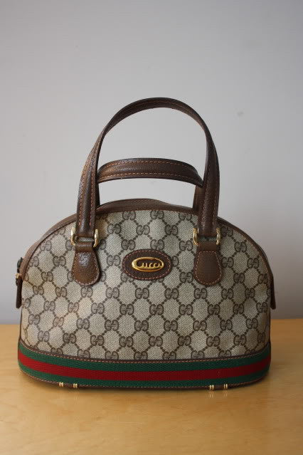 Vintage GUCCI Brown GG Monogram Coated Canvas Top Handle Doctor Bag with Leather Trim & Red & Green Stripe Detail
